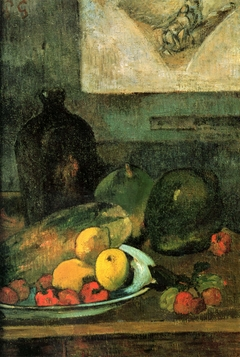 still-life in front of an engraving of Delacroix