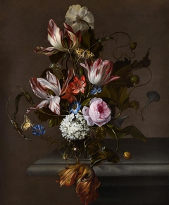 Still Life of Flowers in a Glass Vase on a Stone Table Ledge