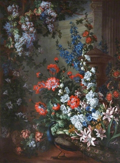 Still Life with Flowers and Peacock