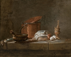 Still Life with Leeks, a Casserole with a cloth, and a Copper Pot