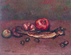 Still Life with Onions and Herring