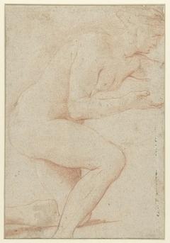 Studie van vrouwelijk naakt, steunend op de knie
