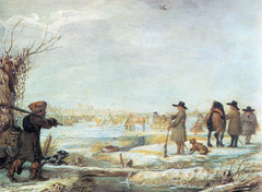 The Frozen river IJssel out of Kampen