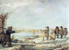 The Frozen river IJssel out of Kampen