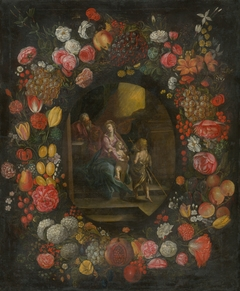 The Holy Family in a Flower and Fruit Garland