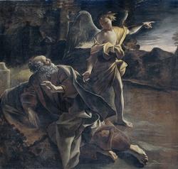 The Prophet Elijah in the Desert Awakened by an Angel