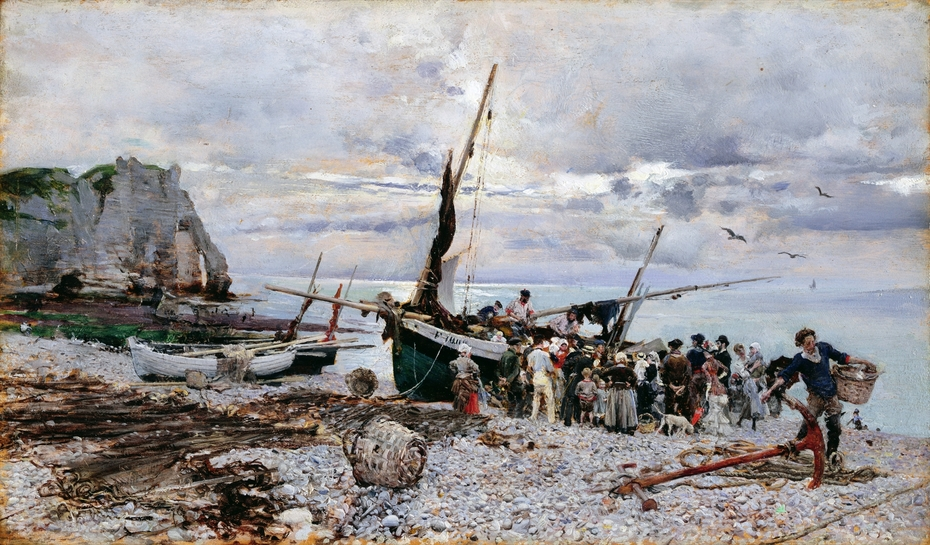 The Return of the Fishing Boats, Étretat