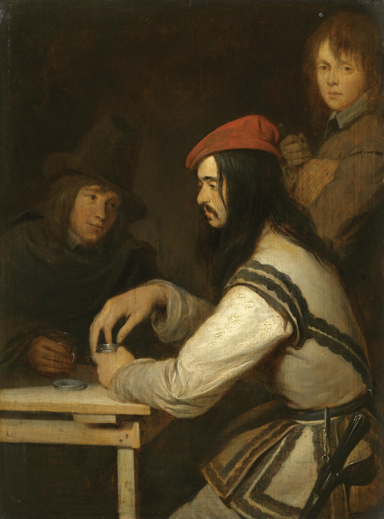 Three Men in a Tavern, One taking Snuff