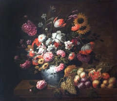 Tulips, Roses and other Flowers in a Porcelain Bowl, and Fruit, on a Ledge