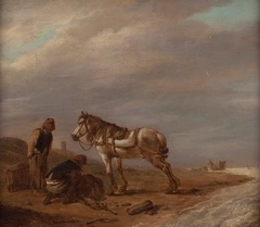 Two Men with a Horse on the Beach