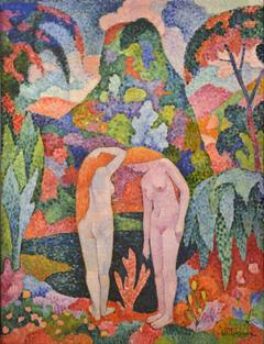 Two Nudes in an Exotic Landscape (Baigneuses: Deux nus dans un jardin exotique)