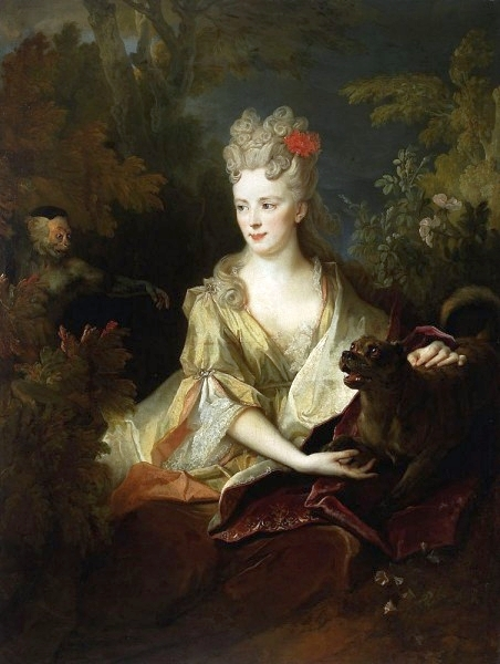 Portrait of a lady with a dog and a monkey