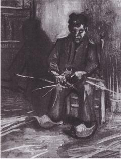 Sitting Peasant weaving basket