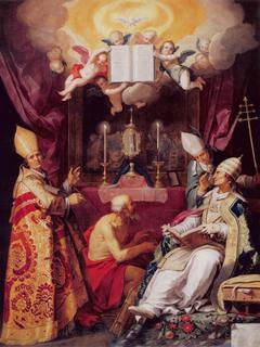 Vier Kirchenväter: Augustinus, Hieronymus, Gregorius und Ambrosius