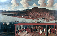 View of Smyrna (Izmir) and the Reception Given to Consul de Hochepied in the Council Chamber
