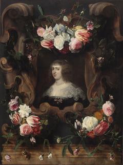 Weibliches Bildnis im Blumenkranz