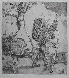 """Wickery Man"" copper engraving"