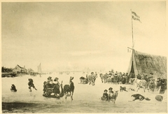 Winter landscape with skaters, sleighs and a tent