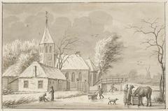 Wintergezicht bij een kerk