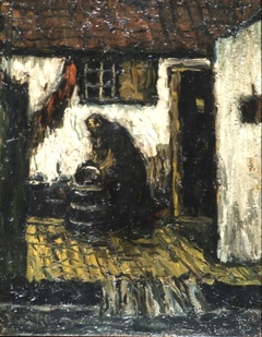 Woman in a courtyard
