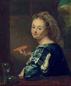 Young woman with a waffle