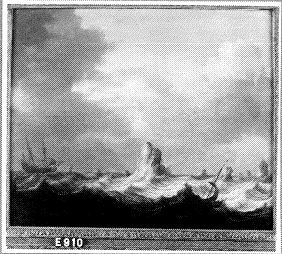 Zeilboten in een storm voor een rotskust