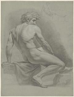 Zittend mannelijk naakt en een kleine schets