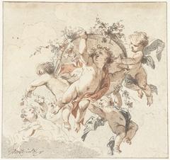 Zwevende cherubijnen met een bloemenmand