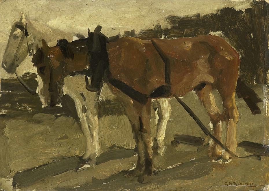 A Brown and a White Horse in Scheveningen