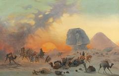 A caravan in the desert in a Simoom
