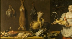 A Cook with Vegetables and Game in a Larder