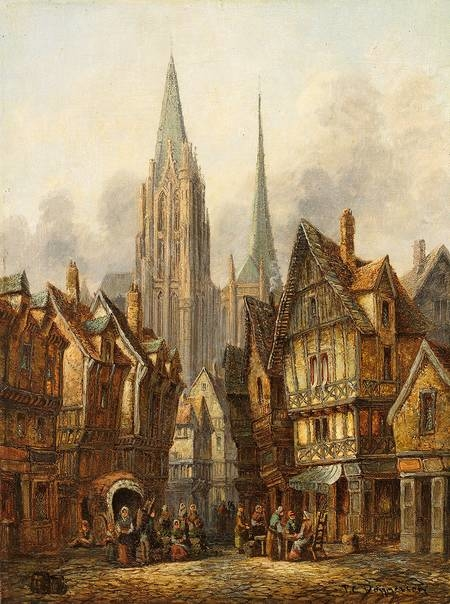A Gothic Cathedral In Medieval City Pieter Cornelis Dommersen
