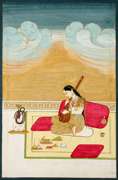 A lady seated against a bolster, playing the tambura