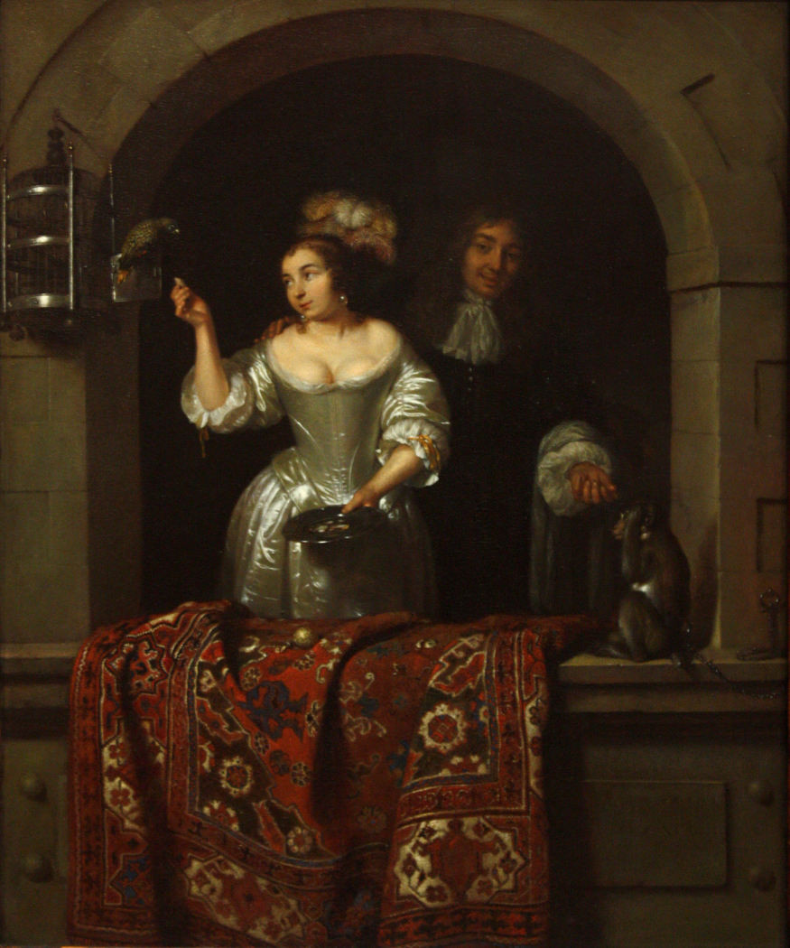 A Lady with a Parrot and a Gentleman with a Monkey