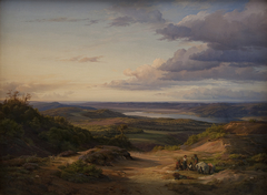 A Landscape near Himmelbjerget, Jutland. In the Foreground a Gypsy Family