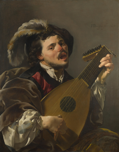 A Man playing a Lute