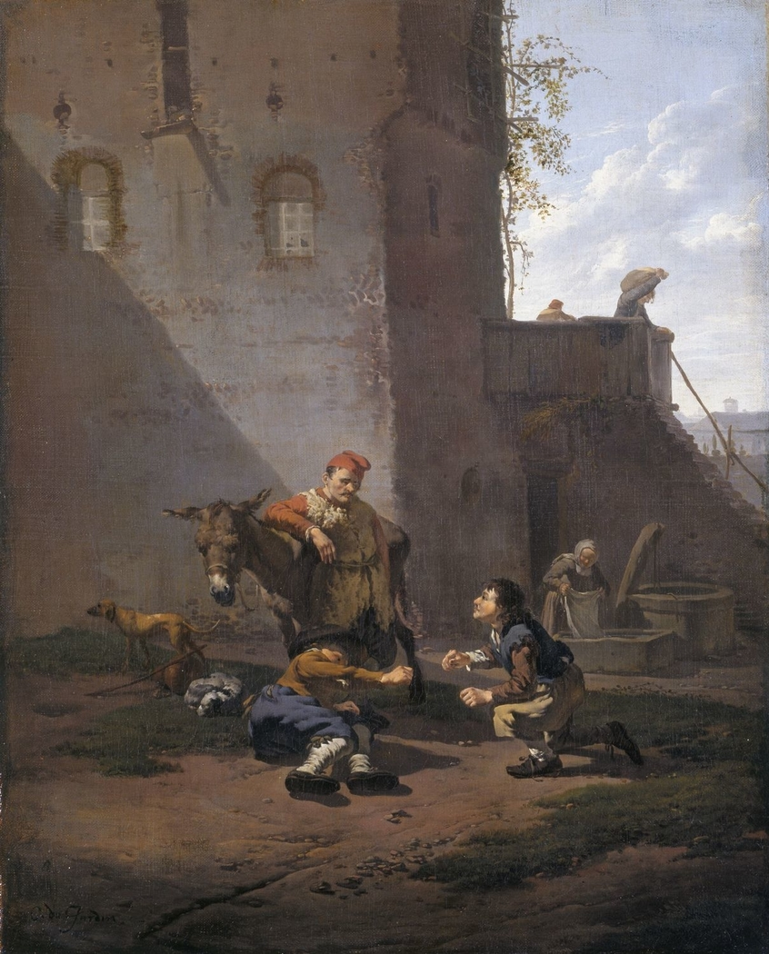 A Muleteer and two Men playing the Game of Morra