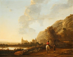 A River Landscape with a Horseman on a Road