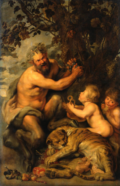 A Satyr pressing Grapes with a Tiger and Two Children