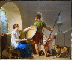 A Spartan Woman Giving a Shield to Her Son