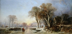 A Winter Landscape at Sunset with Figures on a Frozen River