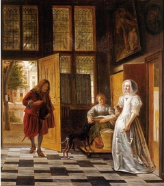 A Woman Receiving a Man in the Doorway