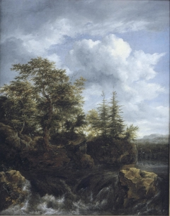 A wooded river landscape with a waterfall and travellers on a bridge