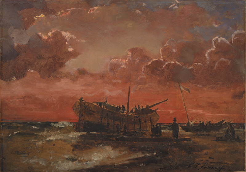 A Wreck on the West Coast of Jutland at Sunset