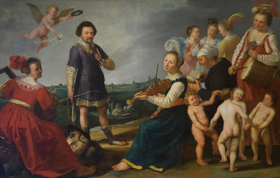 Allegorische voorstelling met Prins Frederik Hendrik na de inname van 's-Hertogenbosch