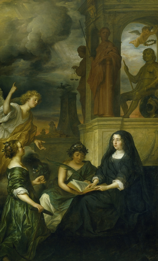 Allegory on the memory of Frederik Hendrik (1584-1647), prince of Orange, with the portrait of his widow Amalia van Solms