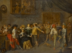 An elegant company merrymaking in an interior