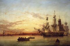 An Emigrant Ship, Dublin Bay, Sunset