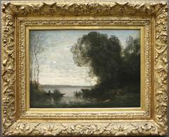 An evening. Boatman moored