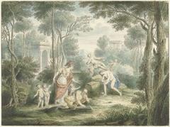 Arcadisch landschap met Athene die een oude man kroont en Venus en Adonis